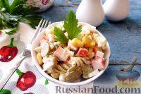 Фото к рецепту: Салат из крабовых палочек, с макаронами