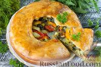 Фото к рецепту: Постный пирог с капустой, сладким перцем и зеленью