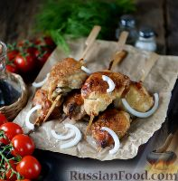 Фото к рецепту: Куриные шашлычки в духовке