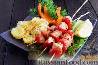 Фото к рецепту: Куриные шашлычки с картошкой (в духовке)