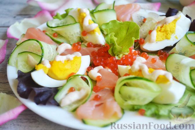 рецепт салата красавица с красной икрой