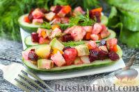 Фото к рецепту: Винегрет с авокадо, в лодочках из огурцов