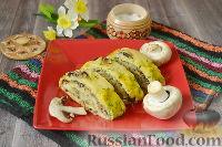Фото к рецепту: Рулет из кабачков, с грибами и сыром