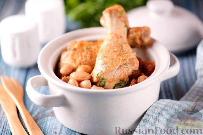 Курица с грибами и фасолью - пошаговый рецепт с фото на Повар.ру