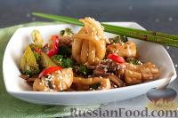 Фото приготовления рецепта: Кальмары с брокколи, в соевом соусе - шаг №10