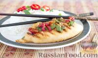 Фото к рецепту: Кальмар в остром соусе (на сковороде-гриль)