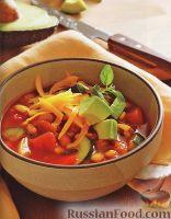 Фото к рецепту: Вегетарианское чили с фасолью и кукурузой