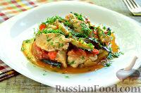 Фото к рецепту: Мясо с баклажанами и помидорами