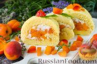 Фото к рецепту: Бисквитный рулет с абрикосами