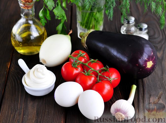 Фото приготовления рецепта: Салат из баклажанов и яиц - шаг №1
