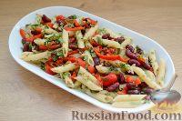 Фото к рецепту: Пенне с фасолью, маринованным перцем и орехами