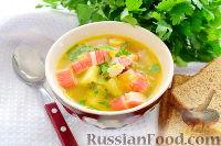 Фото к рецепту: Суп с крабовыми палочками