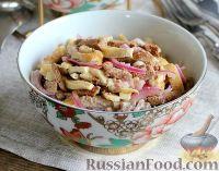 Фото к рецепту: Салат с печенью, яичными блинами и луком