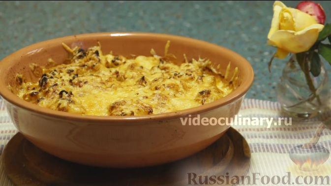 Фото к рецепту: Цветная капуста с помидорами и сыром