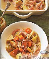 Фото к рецепту: Овощное рагу с копченостями, запеченное в яблочном соусе