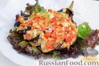 "Фото к рецепту: ""Веер"" из баклажана, с фаршем и помидорами"