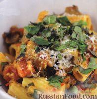 Фото к рецепту: Паста ригатони с баклажаном, в томатном соусе