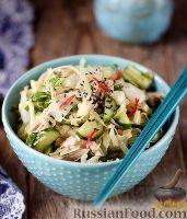 Фото к рецепту: Салат с курицей и огурцами (по-азиатски)