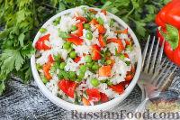 Фото к рецепту: Салат с рисом, зеленым горошком и перцем