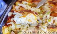Фото к рецепту: Рисовая запеканка с сыром и ветчиной