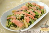 Фото к рецепту: Паста с брокколи и копченой семгой