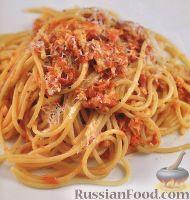 Фото к рецепту: Спагетти с тунцом в томатном соусе
