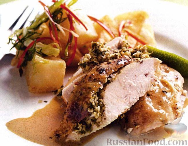 Рецепт Курица запеченная с кокосом, чили и лаймом под кокосовым соусом