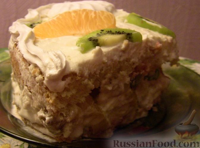 Рецепт Бисквитный торт с зефиром и фруктами