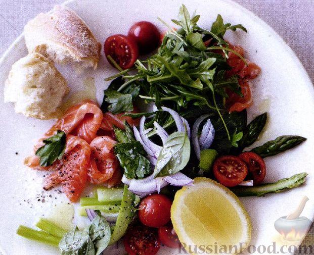 Рецепт Семга маринованная в соке цитрусовых и салат со спаржей