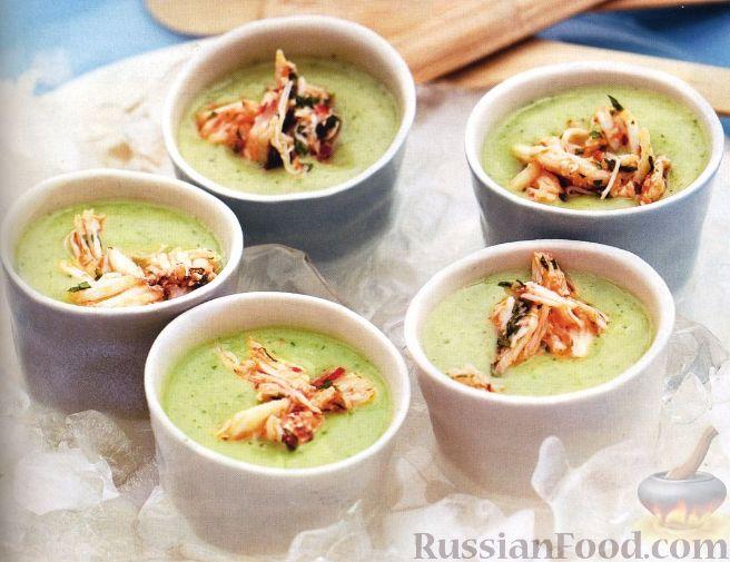 Рецепт Холодный суп с огурцами и мясом крабов