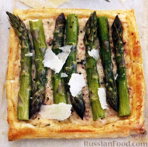 Рецепт Открытый пирог со спаржей, ветчиной и сыром