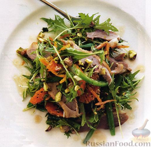 Рецепт Салат с утиным мясом, мандаринами и фисташками
