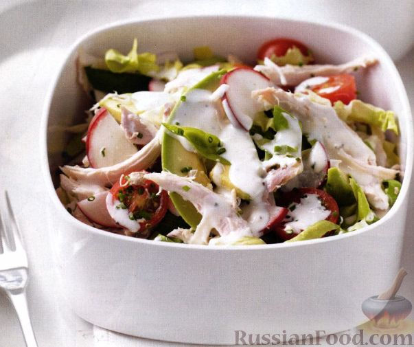 Рецепт Салат с куриным мясом и авокадо