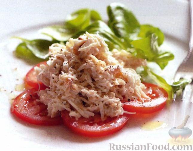 Рецепт Мясо крабов с майонезом и зеленым салатом