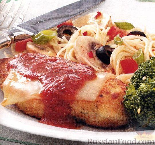 Рецепт Курица с пармезаном и томатным соусом