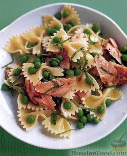 Рецепт Фарфалле с лососем, мятой и горошком