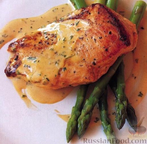 Рецепт Жареная курятина под горчично-сливочным соусом