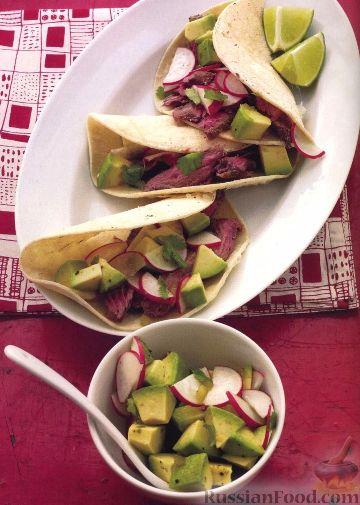 Рецепт Тако с говядиной, редисом и авокадо
