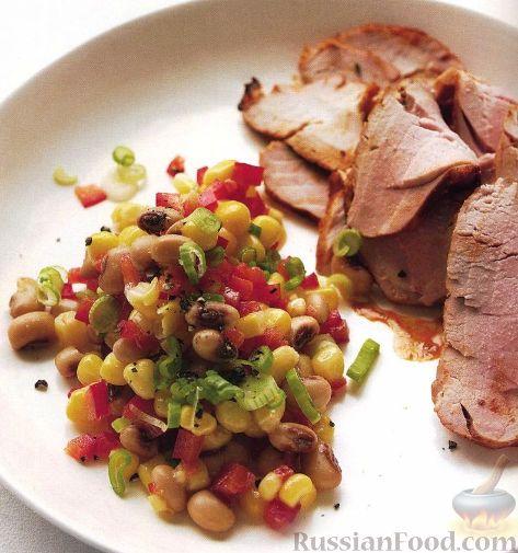 Рецепт Жареная свинина и салат из спаржевой фасоли