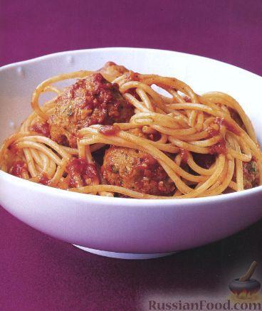 Рецепт Спагетти с тефтелями из индейки
