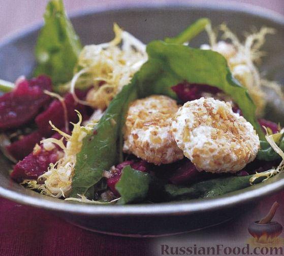 Рецепт Салат из свеклы, руколы и козьего сыра