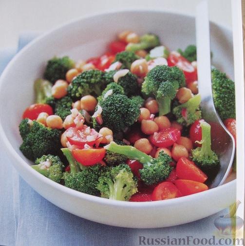 Рецепт Салат из брокколи, турецкого гороха и томатов