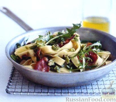 Рецепт Паста (макароны) с оливковой тапенадой и панчеттой
