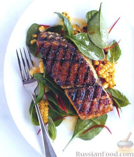 Рецепт Жареная рыба и салат с кукурузой