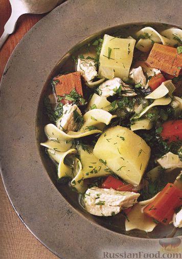 Рецепт Куриный суп с лапшой, пастернаком и свежей зеленью