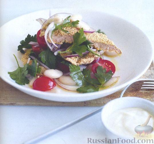 Рецепт Телятина в кукурузной панировке и салат с фасолью