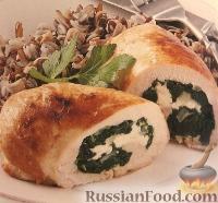 Фото к рецепту: Куриные рулеты со шпинатом