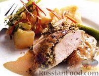 Фото к рецепту: Курица запеченная с кокосом, чили и лаймом под кокосовым соусом