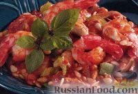 Фото к рецепту: Итальянская паста орцо с курицей и креветками