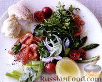 Фото к рецепту: Семга маринованная в соке цитрусовых и салат со спаржей